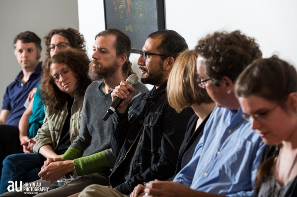 "From the ""How we get by"" event. Left to right: Tim Devin, Andi Sutton, Heather Kapplow, Dirk Adams, Dave Ortega, Melinda Cross, Gregory Jenkins, Emily Garfield. Not pictured: Coelynn McIninch, Greg Cook, Jason Pramas, Shea Justice. Photo by Ho Yin Au"