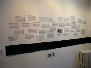 About 40 new predictions were added during the show. In this photo, there are a number of hand-written notes on the wall.