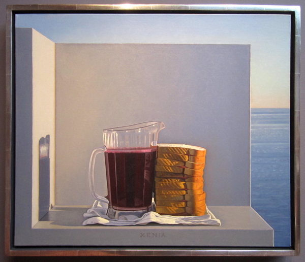 David Ligare, Still Life with Grape Juice and Sandwiches (Xenia), 1994
