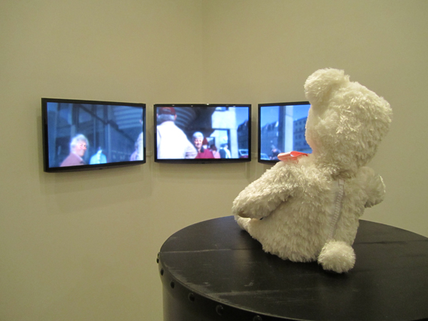 Lastly, a dancing teddy bear which had a video camera hidden inside it was placed out on the sidewalk to capture pedestrians' reactions. The videos were then displayed on the wall opposite the bear itself, which danced away the whole night.